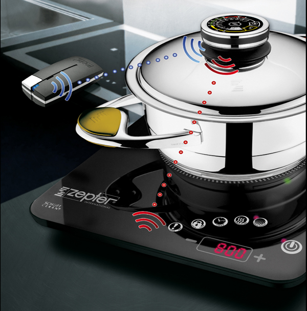 Zepter's revolutionary technology pairs the Zepter Radio Induction Cooker with the Zepter Radio Digital Thermocontrol and Zepter Buzzer, for a fully automated and undisturbed cooking process without your presence.